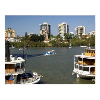 外輪汽船、ブリスベーンの川、ブリスベーン、 ポストカード