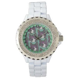 外部猫の紫色のサングラスのきらきら光るな腕時計 腕時計