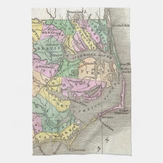 外銀行およびノースカロライナの東の地図(1827年) キッチンタオル
