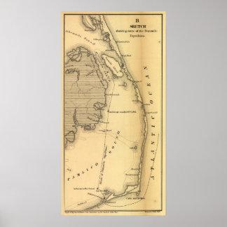 外銀行(1862年)のヴィンテージの地図 ポスター