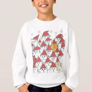 多くのおもしろいな猫が付いているクリスマスパターン スウェットシャツ