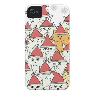 多くのおもしろいな猫が付いているクリスマスパターン Case-Mate iPhone 4 ケース