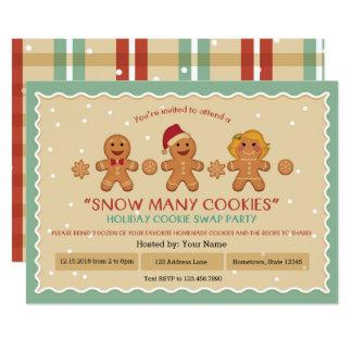 """多くのクッキーの""""クッキーの交換""""のパーティの招待状は雪が降ります カード"""