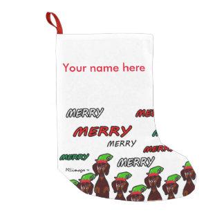 多くのメリーなダックスフントのクリスマスのストッキング スモールクリスマスストッキング