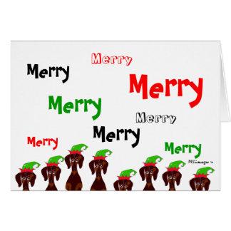 多くのメリーなダックスフントのクリスマスカード カード