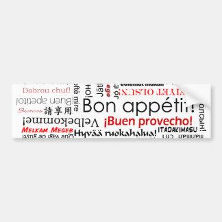 多くの異なった言語タイポグラフィの糖菓のappetit バンパーステッカー