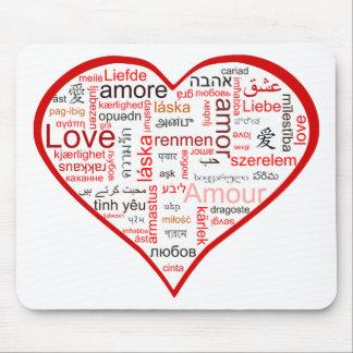 多くの言語の愛の十分の赤いハート マウスパッド