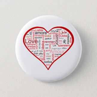 多くの言語の愛の十分の赤いハート 5.7CM 丸型バッジ