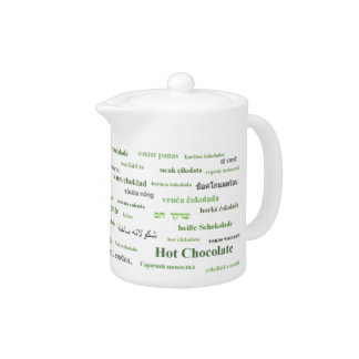 多くの言語ティーポット-緑の熱いココア