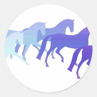 多くの馬(青) ラウンドシール