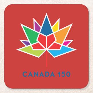 多彩でおよび赤いカナダ150の役人のロゴ- スクエアペーパーコースター