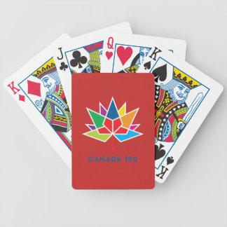 多彩でおよび赤いカナダ150の役人のロゴ- バイスクルトランプ