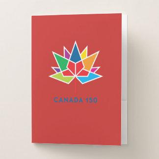 多彩でおよび赤いカナダ150の役人のロゴ- ポケットフォルダー