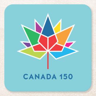 多彩でおよび青カナダ150の役人のロゴ- スクエアペーパーコースター