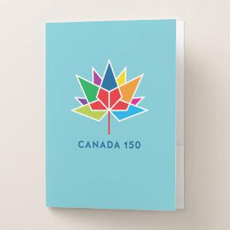 多彩でおよび青カナダ150の役人のロゴ- ポケットフォルダー