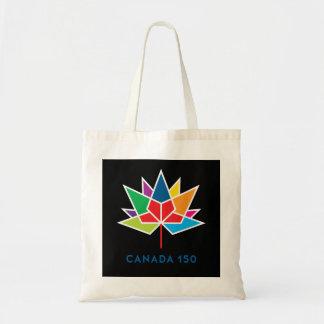 多彩でおよび黒いカナダ150の役人のロゴ- トートバッグ