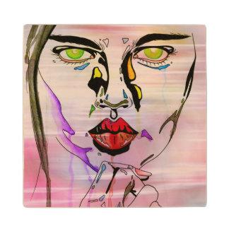 多彩でグランジな女の子の絵を含むコースター ウッドコースター