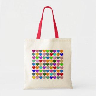 多彩で写実的なハートパターン トートバッグ