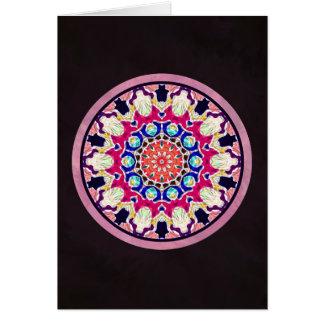多彩で抽象的な万華鏡のように千変万化するパターンの曼荼羅 カード