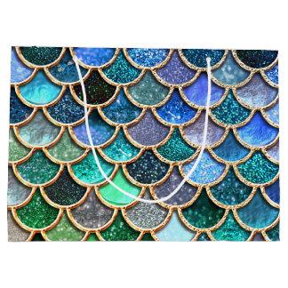 多彩で青い輝きのグリッターの人魚のスケール ラージペーパーバッグ