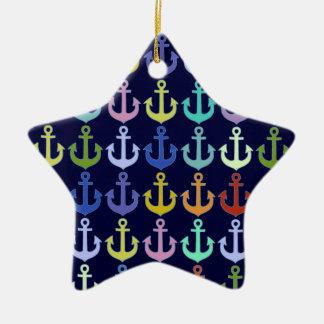 多彩ないかりパターン海軍デザイン セラミックオーナメント