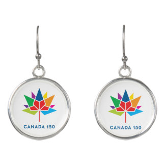 多彩なカナダ150の役人のロゴ- イヤリング