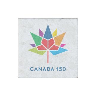 多彩なカナダ150の役人のロゴ- ストーンマグネット
