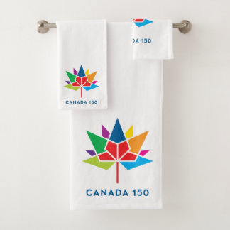 多彩なカナダ150の役人のロゴ- バスタオルセット