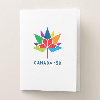 多彩なカナダ150の役人のロゴ- ポケットフォルダー