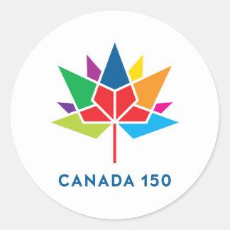 多彩なカナダ150の役人のロゴ- ラウンドシール