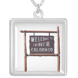多彩なコロラド州へようこそ シルバープレートネックレス