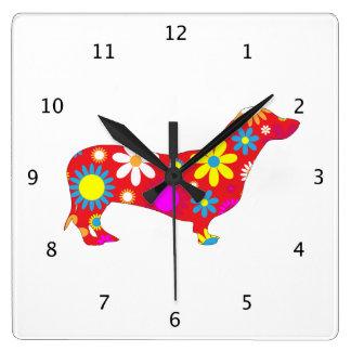 多彩なダックスフント犬のファンキーな花のレトロの花 スクエア壁時計