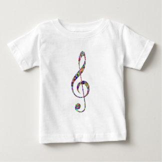 多彩なト音記号音楽 ベビーTシャツ