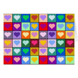 多彩なハートの正方形 カード