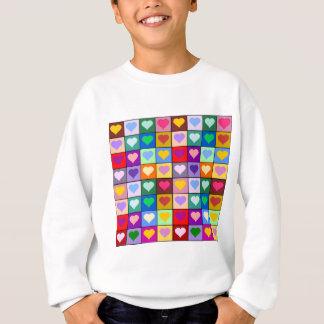 多彩なハートの正方形 スウェットシャツ