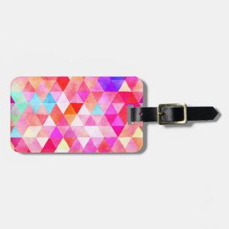 多彩なピンクの水彩画の三角形パターン ラゲッジタグ