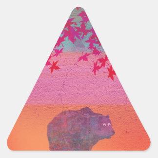 多彩な分野、葉、色の少しくま 三角形シール