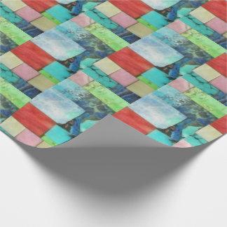 多彩な宝石用原石のモザイク一見のターコイズの覆い ラッピングペーパー