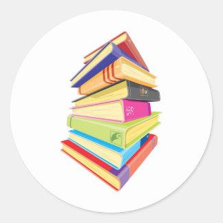 多彩な本の山 ラウンドシール