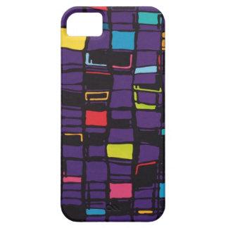 多彩な正方形が付いている紫色の箱 iPhone SE/5/5s ケース