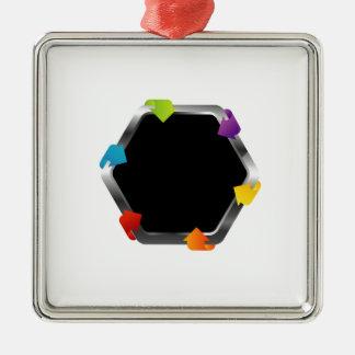 多彩な矢との六角形 メタルオーナメント