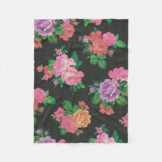 多彩な花の装飾的なばら色のフリースブランケット フリースブランケット