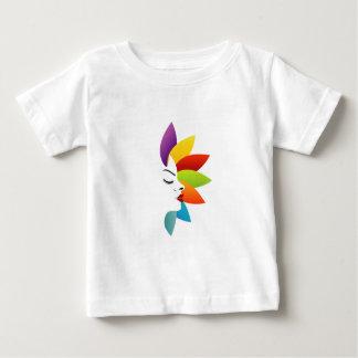 多彩な葉が付いている顔 ベビーTシャツ