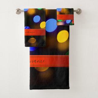 多彩のクリスマスの照明。 文字を加えますか、または示して下さい バスタオルセット