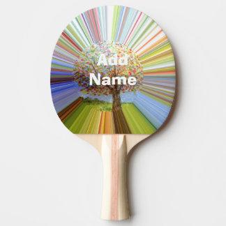 多彩のストライプのな秋の木の芸術 卓球ラケット