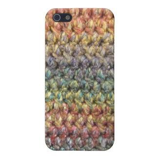 多彩のストライプのな編まれたかぎ針編み iPhone 5 ケース