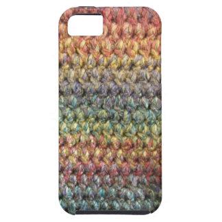 多彩のストライプのな編まれたかぎ針編み iPhone SE/5/5s ケース