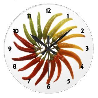 多彩のトウガラシの時計 ラージ壁時計