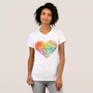 多彩のハートはとの紙吹雪のはねかけます Tシャツ