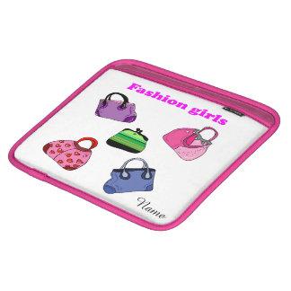 多彩のファッションのバッグの絵 iPadスリーブ